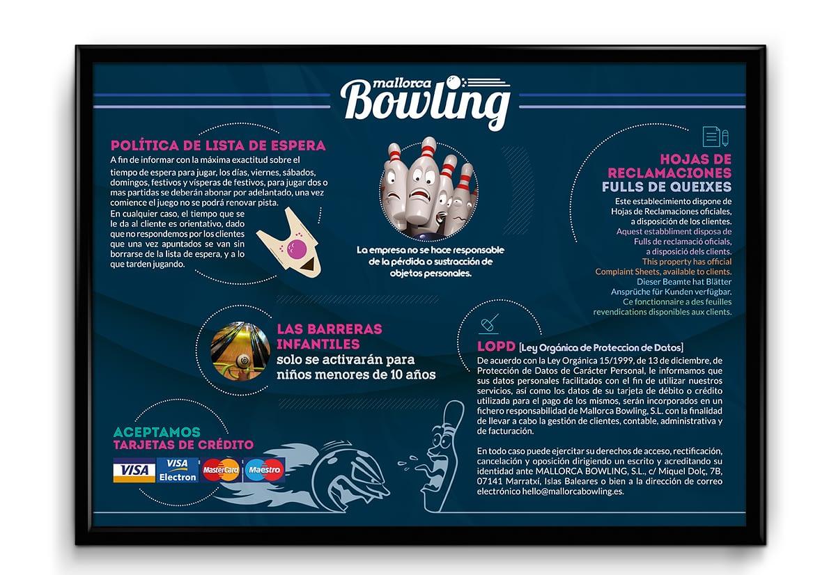 cartel de politica de espera Mallorca Bowling