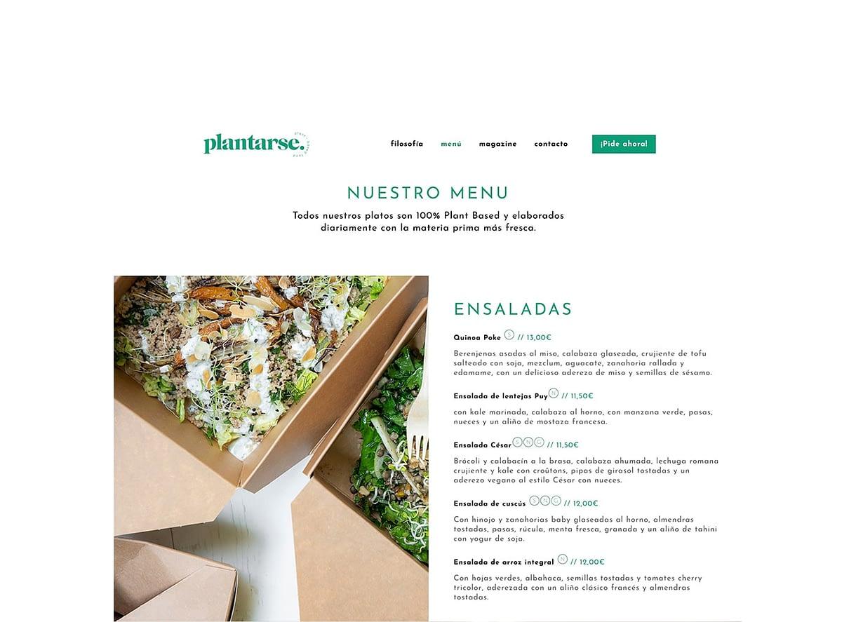 diseño web apartado de ensaladas en el menu