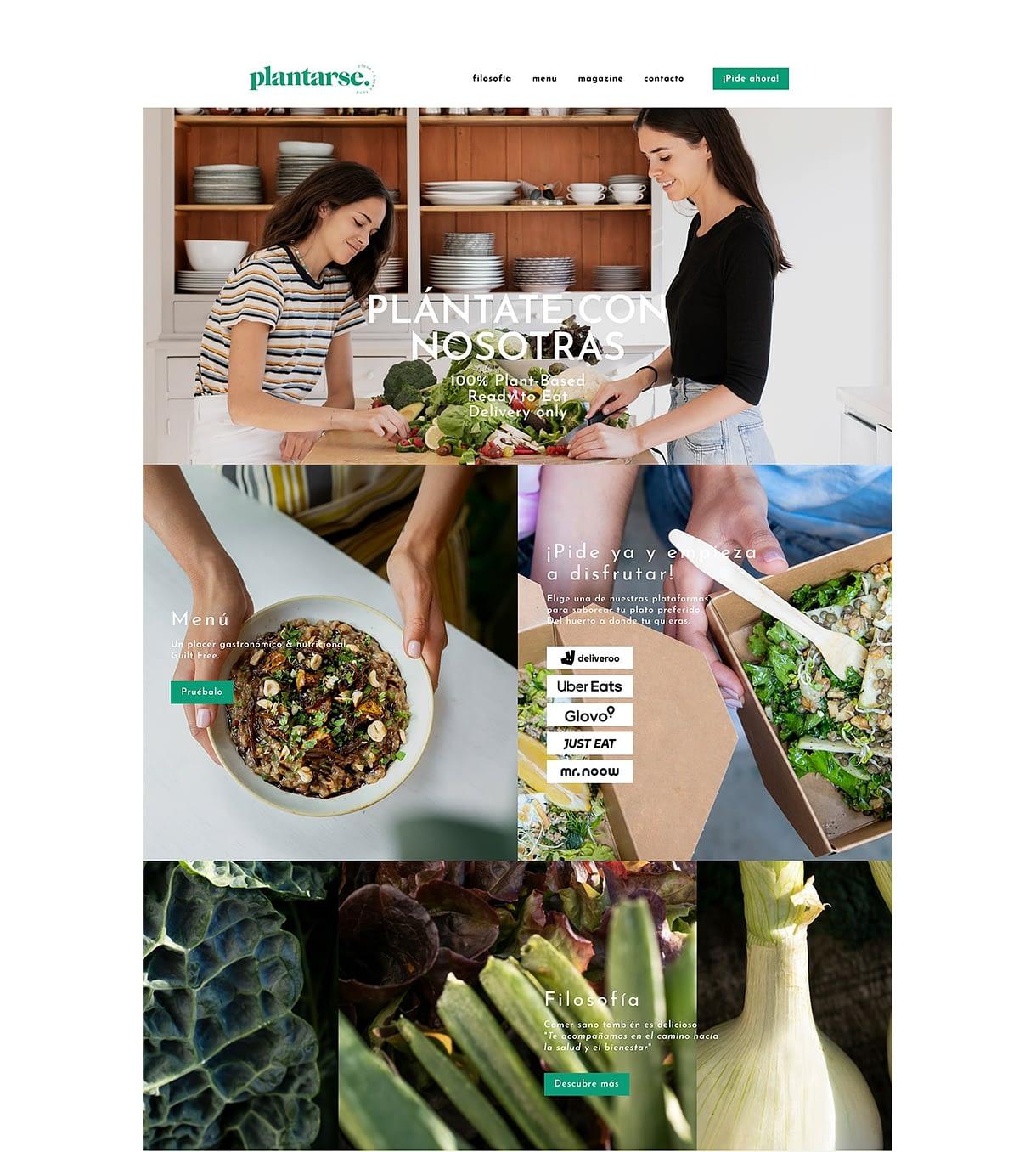 diseño web de la home de Plantarse